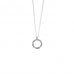 Women's Wreath Necklace from Steel to Silver with Zircon Stones AJ (KK0152A)