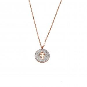 Women's Cross Necklace in Steel in Rose Gold with Zircon Stones AJ (KK0154RX)