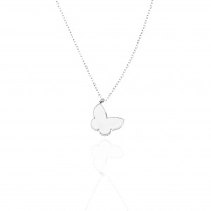 Butterfly Necklace from Steel in Silver AJ (KK0155A)