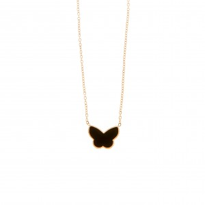 Butterfly Necklace in Steel in Pink Gold AJ (KK0156RX)