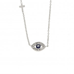 Necklace-Eye from Steel in Silver AJ (KK0159A)