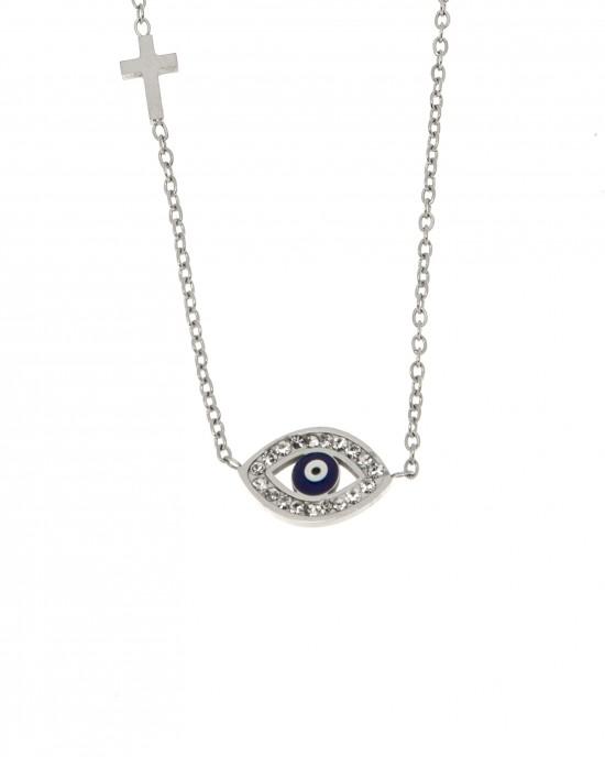 Necklace-Eye from Steel in Silver AJ (KK0159A)
