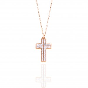 Necklace-Cross with Stones in Steel in Pink Gold AJ (KK0162RX)