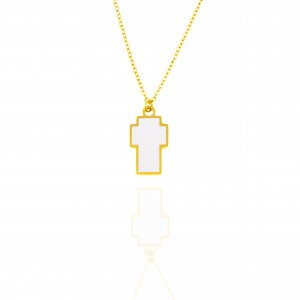 Necklace-Cross with Stone in Gold AJ (KK0176X)