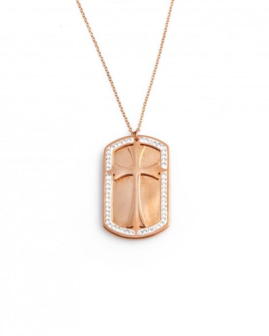 Women's Identity Necklace Cross made of Steel in Pink Gold AJ (KK0177RX)