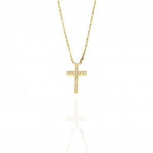 Cross-Ladies with Steel Stones in Gold AJ (KK0178X)