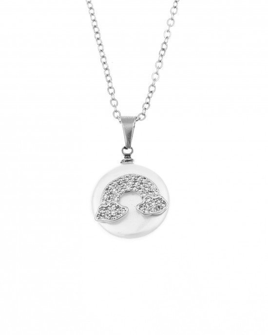 Women's Horseshoe from Steel to Silver with Slang Stones AJ (KK0180A)