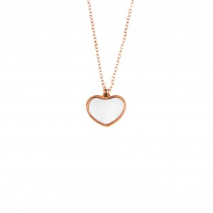 Heart Stud with Necklace made of Steel in Rose Gold AJ (KK0183RX)