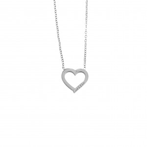Heart Necklace made of Steel in Silver AJ (KK0184A)
