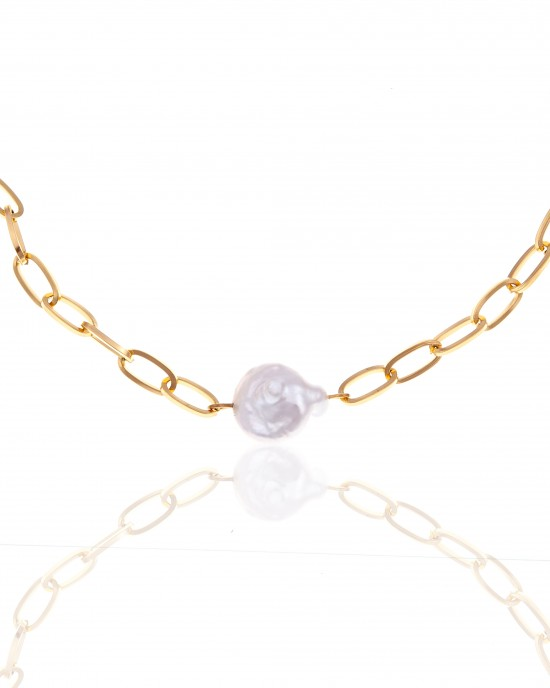 Necklace with Steel Pearl in Yellow Gold AJ (KK0188X)