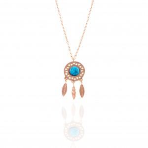 Dreamcatcher Necklace made of Steel in Pink Gold AJ (KK0189RX)