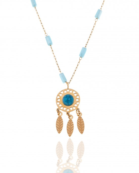 Dreamcatcher Necklace Made of Steel in Yellow Gold AJ (KK0189X)