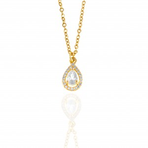 Single Stone Necklace From Steel to Yellow Gold AJ (KK0189X)