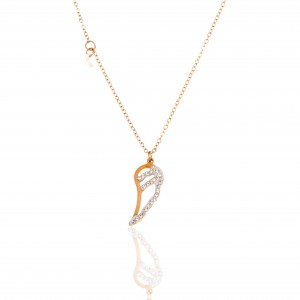 Angel Feather Necklace with Stones in Rose Gold AJ (KK0191RX)