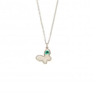 Women's Butterfly Necklace with Steel Ivory in Silver AJ (KK0192A)