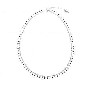 Women's Necklace with Steel Stones in Silver AJ (KK0196A)