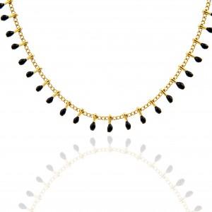 Women's Necklace with Steel Stones in Gold AJ (KK0197X)
