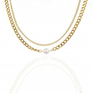 Necklace-Double Steel with Pearl in Gold AJ (KK0217X)