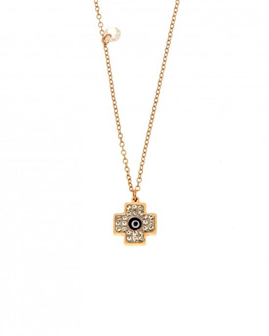 Women's Steel Cross with Stones in Rose Gold AJ (KK0221RX)