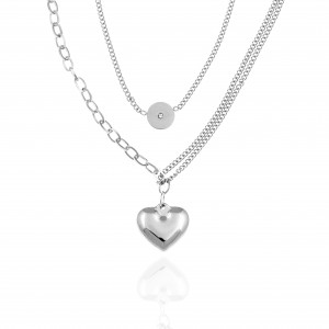 Necklace - Double with Heart made of Steel in Silver AJ (KK0228A)