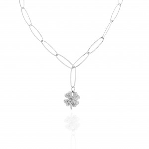 Necklace with Four Leaf Steel Clover in Silver AJ (KK0229A)