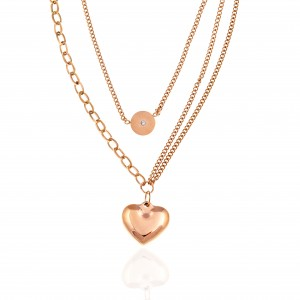 Necklace - Double with Heart made of Steel in Pink Gold AJ (KK0230RX)