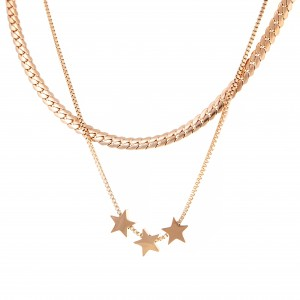 Necklace-Double with Stars from Steel in Pink Gold AJ (KK0235RX)