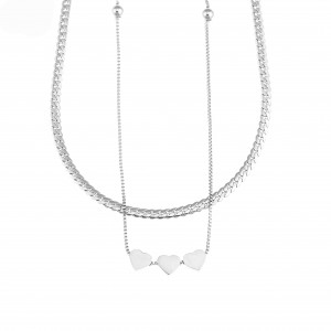 Necklace-Double with Hearts made of Steel in Silver AJ (KK0236A)