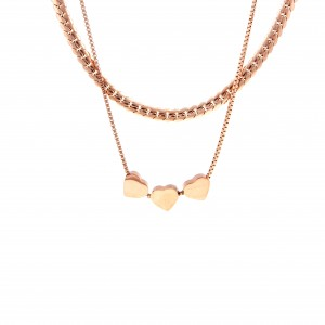 Necklace-Double with Hearts made of Steel in Pink Gold AJ (KK0236RX)