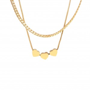 Necklace-Double with Hearts made of Steel in yellow Gold AJ (KK0236X)