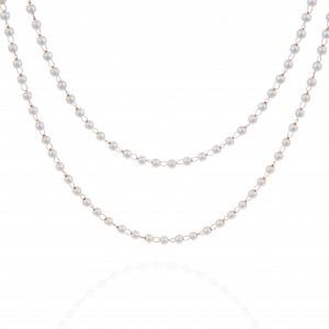 Women's Necklace with Steel Pearls in pink Gold AJ (KK0238RX)