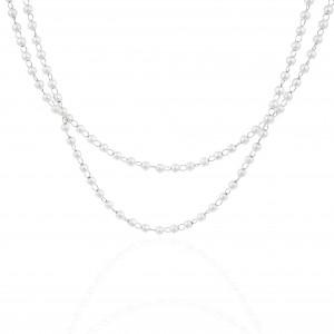 Women's Necklace with Steel Pearls in Silver AJ (KK0239A)