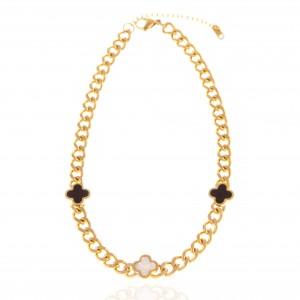 Necklace-Cross with Stones in Steel in Gold AJ (KK0247X)