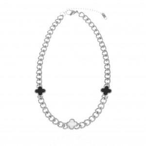 Necklace-Cross with Stones from Steel in Silver AJ(KK0249)