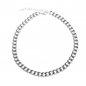 Women's Steel Necklace with Stones in Silver Color AJ (KK0251A)