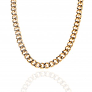 Women's Steel Necklace with Stones in Yellow Gold AJ (KK0256X)