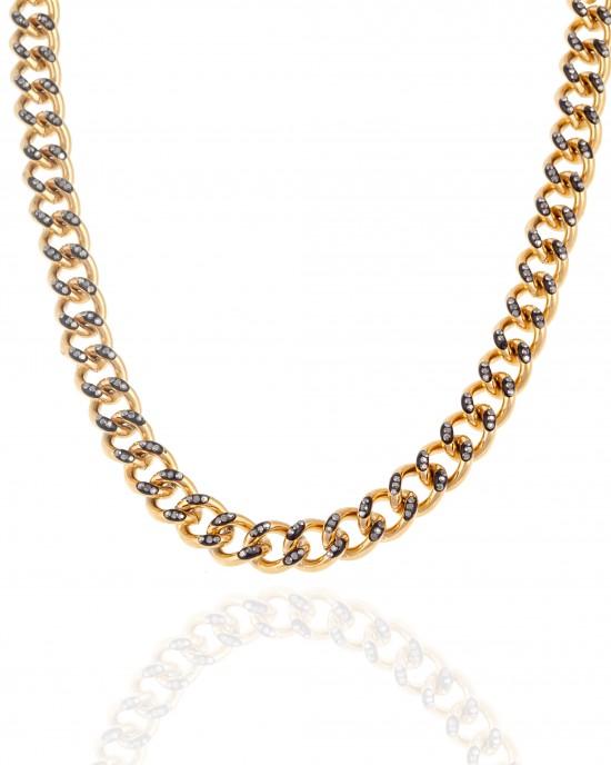 Women's Steel Necklace with Stones in Yellow Gold AJ (KK0256X)