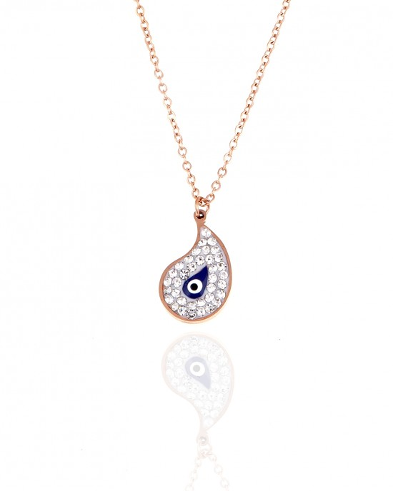 Steel Eye Necklace in pink Gold with Stones AJ (KK0258RX)