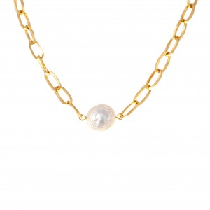 Necklace with Pearl from Steel to Gold AJ (KK0258X)