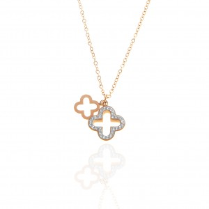 Double Cross Necklace Made of Steel in pink Gold with Stones AJ (KK0260RX)