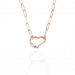 Women's Heart Necklace in Steel in Pink Gold AJ (KK0261RX)