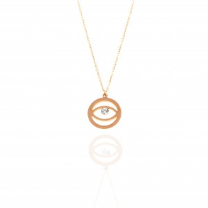 Steel Eye Necklace in pink golg with Stone AJ (KK0263RX)