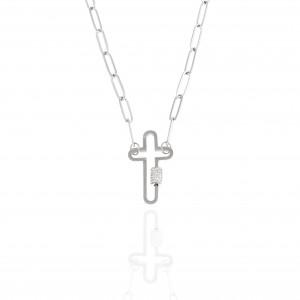 Women's Cross from Steel to Silver with Stones AJ (KK0265A)