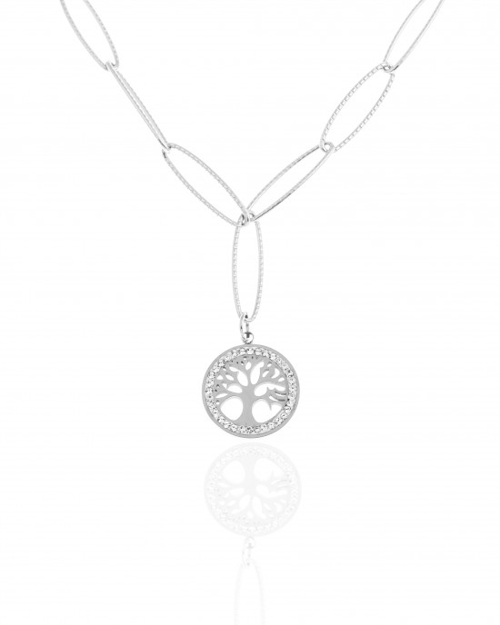 Necklace-Tree of Life from Steel to Silver AJ (KK0266A)