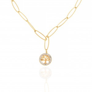 Necklace-Tree of Life from Steel to Gold AJ (KK0267X)