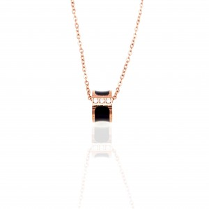 Necklace in Steel in pink Gold with Stones AJ (KK0269RX)