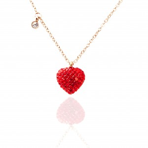 Necklace-Heart with Steel Stones in Rose Gold AJ (KK0281RX)