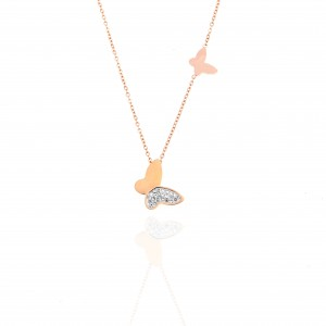 Butterfly Necklace with Steel Stones in Rose Gold AJ (KK0283RX)