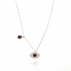 Eye Necklace with Steel Stones in Rose Gold AJ (KK0286RX)