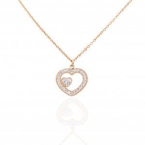 Heart Necklace with Steel Stones in Rose Gold AJ (KK0288RX)